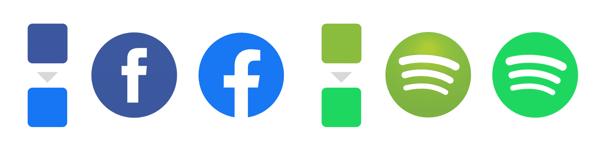 Facebook Spotify logo overgang
